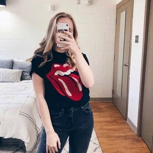 Rolling Stones Black Red Graphic Short Sleeve Tee Small 2019